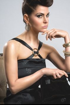 #Model Julie Alexander #hair by #monica_marteau #jewelry by #anne_bocci #black_dress by #seth_aaron from #project_runway #makeup #stephy_fajardo - #photography by #Deneb_Catalan from #nebcat