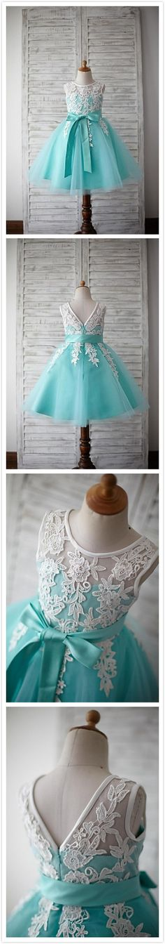 Adorable lace plus tulle doll dress for your flower girl to shine and feel like a princess.