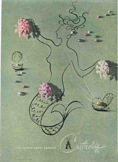 Mermaid art illustrates this 1946 Castlecliff costume jewelry vintage ad