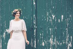 Bride in Ginger by Enzoani Bridal Gown | Flower Crown | Rustic Farm Wedding at The Secret Barn in Sussex | Louise Griffin Photography | http://www.rockmywedding.co.uk/natalie-alex-2/
