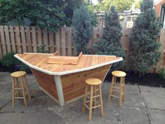 Items similar to Outdoor Patio Cedar Boat Bar on Etsy Backyard Bar, Backyard Ideas, Boat Decor, D House, Boat House, Old Boats, Outdoor Living, Outdoor Decor, Outdoor Bars