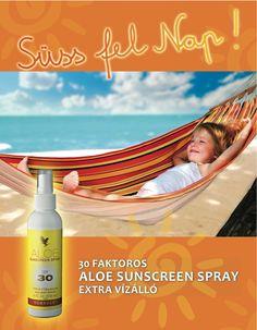 Az időjárási előrejelzések szerint ismét hosszú ideig forróságra számíthatunk. Éppen ezért fontos, hogy óvjuk bőrünket! Használjátok a SPF30 faktoros Aloe Sunscreen Sprayt, hogy megvédjétek magatokat a nap káros hatásaitól.