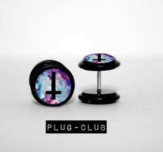 Galaxy Inverted Cross Fake Plugs ; I would wear with them with the cross the right way..