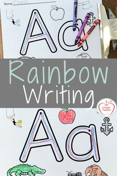 What is Rainbow Writing - Fun, Engaging Activity - 4 Kinder Teachers Alphabet Worksheets, Alphabet Activities, Printable Worksheets, Writing Activities, Kindergarten Writing, Kindergarten Worksheets, Learning The Alphabet, Student Learning, Rainbow Writing