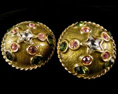 Yosca Signed Earrings Vintage Gold Tone Green and Pink Rhinestones   eBay