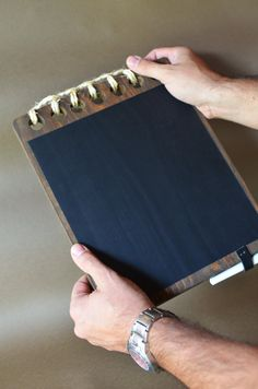 Wooden Chalkboard  Notebook style - Rustic Blackboard Wood tablet - Hanging memo chalkboard -  fathers day gift on Etsy, $35.00