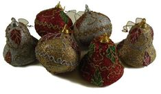 Club Pack of 288 Onion and Bell Shaped Glittered Ivy Christmas Ornaments 3""""