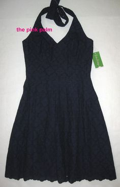 LILLY PULITZER Ross 4 True Navy Blue Charleston EYELET Halter Dress NWT 4 #LillyPulitzer #Sundress #Casual