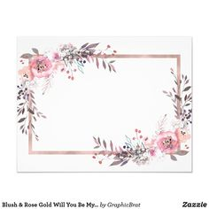 Shop Blush & Rose Gold Framed Will You Be My Bridesmaid Invitation created by GraphicBrat. Rose Gold Wallpaper, Flower Background Wallpaper, Flower Backgrounds, Wallpaper Backgrounds, Be My Bridesmaid Cards, Will You Be My Bridesmaid, Image Youtube, Rose Gold Frame, Create Your Own Invitations