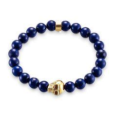 Thomas Style Gold Color Skull And Lapis Lazuli Beads Bracelets European Rebel Skull Vintage Jewelry For Men Ts Bracelet Gifts #Affiliate
