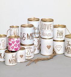 Hochzeitsdosen: Banderolen für Just-Married-Dosen