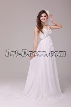 Strapls V-neckline Chiffon Pregnant Beach Wedding Dresses