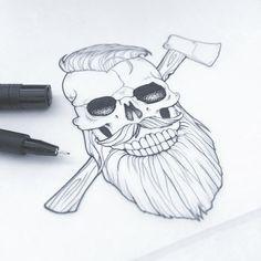Skull design by Aurelie Maron www.aureliemaron.com #skull #skulldrawing #beard #hipster #beardedskull #aureliemaron #drawing #logodesign