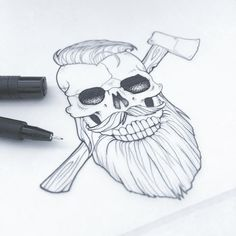Skull design by Aurelie Maron www.aureliemaron.com #skull #skulldrawing #beard…