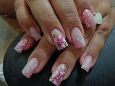 French Nails, Glitter French Manicure, Pink Nail Art, Flower Nail Art, Beautiful Nail Art, Gorgeous Nails, Pretty Nail Designs, Nail Art Designs, Cute Nails