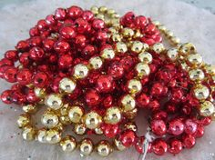 Vintage Mercury Glass Bead Garland Red and Gold Strands 25