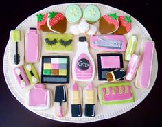"""Another """"sweet"""" makeup inspired cookie platter from: http://ohsugareventplanning.blogspot.com/search?updated-max=2011-05-14T02:33:00-07:00"""