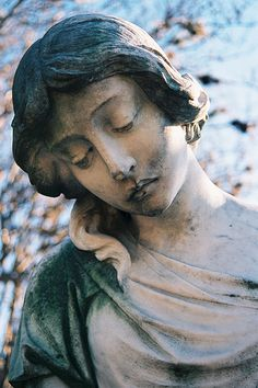 The statues in cemeteries always fascinated me, so I would like to somehow find a way to re-create one, not using wood or stone, but I just think this is cool and pretty common face at cemeteries.