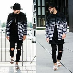 Kosta Williams - H&M Fedora, H&M Flannel, Visionary Long Tee With Sidezip, H&M Custom Skinny Jeans, Birkenstock Sandals - Influencing
