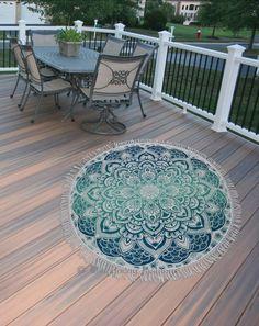 Tassels Indian Mandala Round Beach Tapestry by HippieJewelsDesign