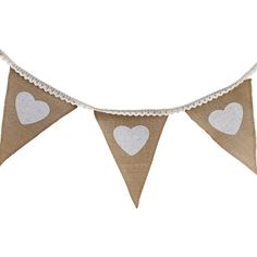 Vintage Affair Heart Hessian And Lace Bunting 2.5 M | Hobbycraft