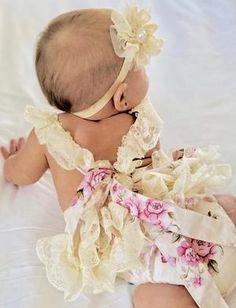 ed7ba31c979c Girls Sweet Lace Off Shoulder Romper Bodysuit – Ruffles   Bowties Bowtique