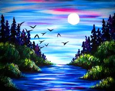 Perfect Day for a Dip at The Clocktower Pub - Richmond - Paint Nite Events near Ottawa, ON> Easy Canvas Painting, Simple Acrylic Paintings, Diy Canvas Art, Acrylic Art, Diy Painting, Painting & Drawing, Landscape Art, Landscape Paintings, Mini Toile