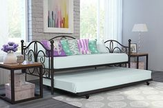 Twin Metal Daybed and Roll Out Trundle Combo