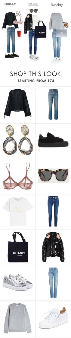 """The Weekend"" by tinderella on Polyvore featuring Anine Bing, Alexander Wang, Henri Bendel, Maje, La Perla, Illesteva, Acne Studios, Chanel, Moncler and Puma"