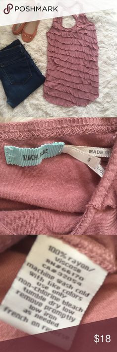 Urban Outfitters Mauve Ruffle tank Small Urban Outfitters by Kimchi blue Mauve / millennial Pink tiered ruffle tank size Small. Lots of stretch to this. Perfect to layer under a cardigan. In pre loved condition but no rips, stains tears. Reasonable offers always accepted. Urban Outfitters Tops Tank Tops