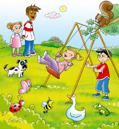 Illustration about Kids from different countries playing together with funny animals. Illustration of spring, children, play - 2581032 Art Drawings For Kids, Drawing For Kids, Cute Drawings, Fruit Coloring Pages, Bear Coloring Pages, Cartoon Park, Cartoon Kids, Writing Pictures, Picture Writing Prompts