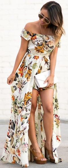 #summer #feminine #outfits    Floral Maxi Jumpsuit
