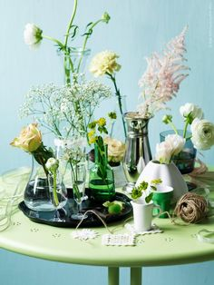 Interesting idea if you've got lots of vases, pots, glasses or bottles and not many flowers