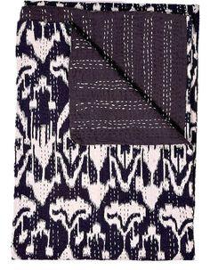 Black ikat Kantha Quilt, indian sari Quilt, ikat quilt, Kantha Throw, Kantha Blanket, Reversible Quilt, Handmade ikat Throw Bohemian Quilt