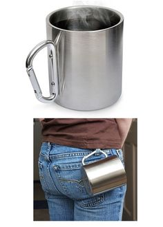 Stainless Steel Carabiner Mug, double walled