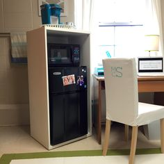 """One of our new Cubby for 2015! The Appliance Cubby is the perfect size to fit your micro-fridge. A top cabinet can be added for all the necessary """"study-break"""" snacks. www.dorm-decor.com/"""