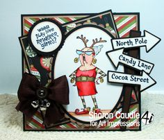 Art Impressions Rubber Stamps: Reindeer Games ... Handmade Christmas card.