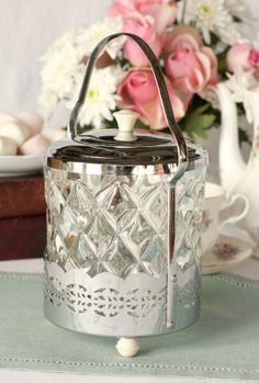 Vintage English biscuit barrel with pretty glass insert and elegant handle, great for cookies, candy or storing tea bags