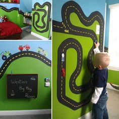 In case you are searching for some projects for your little boys, which can be kid's toys or fun decorations of boy's room, you are on the right place to be. As a parent we know that boys of all ages love to play with race cars, race tracks, and [. Boy Car Room, Race Car Room, Baby Boy Rooms, Room Boys, Diy Projects For Kids, Diy For Kids, Project Projects, Magnetic Paint, Diy Home Decor