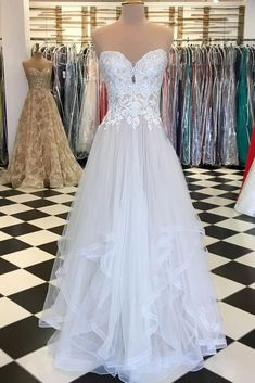 White sweetheart neck tulle lace applique long prom dress, white evening dress