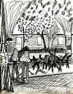 Disegno eseguito abbastanza in velocità a penna su carta di una dimostrazione pubblica di capoeira. Terni, spazi del CAOS, 2014