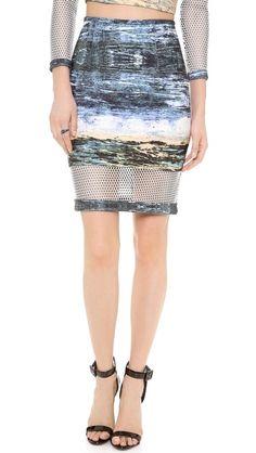 Yigal Azrouel Scuba Waterprint Mesh Skirt SS14