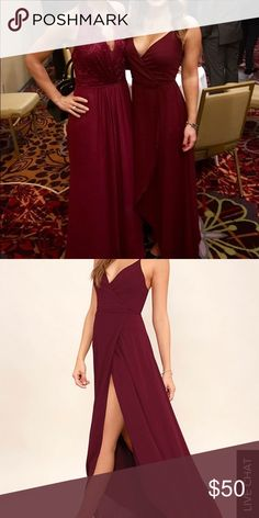 Woman's formal dress Floor length, high low, wrap dress with tulip opening in burgundy. Perfect for a wedding, dance or any special occasion. Very comfortable and has a nice flow. Worn once! The dress is the one on the right side when looking at the picture. There is no lace. There is a nice ruffle shoulder detail. Lulu's Dresses High Low