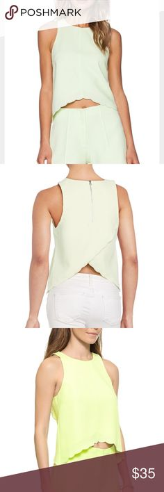 Saylor Scallop Crop Top - Revolve Clothing Beautiful bright mint color (between mint and lime). This style is fitted with no stretch. Has a zipper in the back. Brand new! SAYLOR Tops Crop Tops