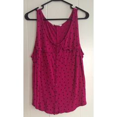 Pink polka dot button up tank Hot pink button up by Old Navy Old Navy Tops Button Down Shirts