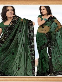 Green Shimmer Net Saree with Blouse