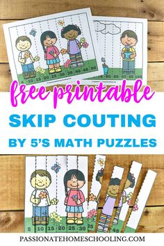 Free Printable Skip Counting By 5 Puzzles: I love using these cute spring themed puzzles to help my kids practice skip counting! Using fun games makes learning math facts for kids so much easier. Get your free printable here. Skip Counting Games, Counting In 5s, Counting Puzzles, Maths Puzzles, Number Puzzles, Number Bonds, Number Games, Fun Math Activities, Infant Activities