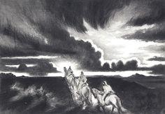 $1800 Riders at Sundown, Prints by Gene Kloss