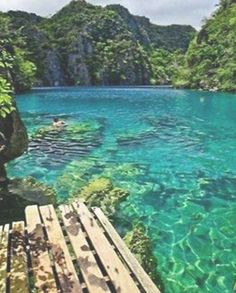 Kayangan Lake in Coron Island, Palawan The Philippines& Palawan Island was voted the most beautiful island in the world by Conde Nast Traveler readers travel Puerto Princesa, Manila, Best Places In Portugal, Places To Travel, Places To Visit, Travel Destinations, Palawan Island, Indie, Snorkel