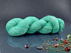 Cote d'Azure - Hand Dyed Yarn, Merino Superwash in Aquamarine, Hand Dyed Fingering Yarn by AspenYarnDyeing on Etsy